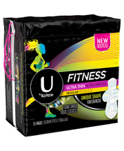 U by Kotex Fitness Ultra Thin Pads with Wings, Regular Absorb...