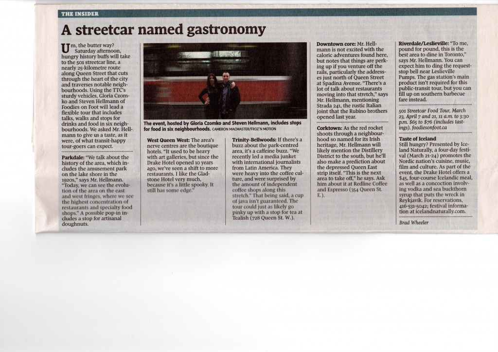 A streetcar named gastronomy - National Post - March 23, 2013