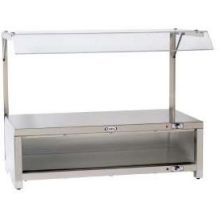 Cadco Stainless Warming Cabinet with Sneeze Guard and Warming Shelf Top 28 x 22.5 x 18.25 inch