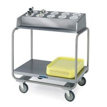 Stainless Steel Tubular Tray and Flatware Silver Condiment Cart