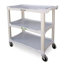 Traditional Series KD Standard Duty Gray 3 Shelf Plastic Utility Cart