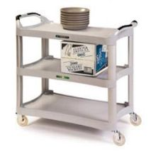 Traditional Series KD Medium Duty Light Gray 3 Shelf Plastic Utility Cart