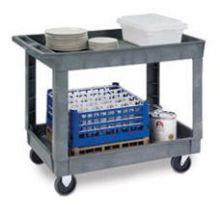 Traditional Series KD Medium Duty Gray 2 Shelf Deep Well Plastic Utility Cart