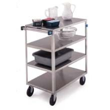 Stainless Steel Medium Duty 4 Shelves 3 Edges Up and 1 Down Banquet Cart with 18 x 31 inch Shelf