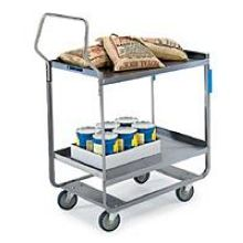Handler Series Heavy Duty Stainless Steel NSF Utility Cart with Two 21 x 33 inch Shelves