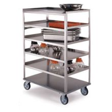 Stainless Steel Medium Duty 4 Shelves 3 Edges Up and 1 Down Banquet Cart with 21 x 50 inch Shelf