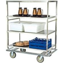 Stainless Steel Tough Transport Queen Mary 4 Shelves 3 Edges Up and 1 Down Banquet Cart with 28 x 70 inch Shelf