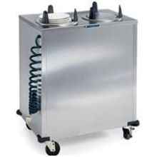 Stainless Steel 2 Stack Heated Regular Round Plate Dispenser for 6.625 to 7.25 inch Plate Size
