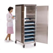Stainless Steel with Vinyl Exterior Compact Series One Front and One Back Door Tray Delivery Cart