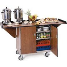 Stainless Steel Drop Leaf Beverage Service Cart with Vinyl Finish