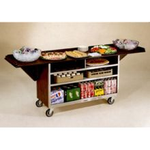 Stainless Steel Large Drop Leaf Beverage Service Cart with Vinyl Finish