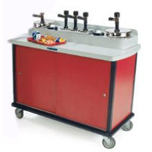Condi Express Stainless Steel Base Condiment Station with Six 3 Quart and One 7 Quart Pump and 31 inch Counter Height