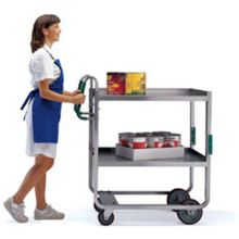 Ergo One Series Stainless Steel Tough Transport Utility Cart with Two 21 x 33 inch Shelves