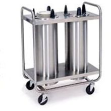 Stainless Steel 2 Stack Non Heated Regular Open Tubular Frame Plate Dispenser for 5.125 to 5.75 inch Plate Size