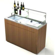 Geneva Chalet Stainless Steel Body IPE Wood Finish Portable Back Bar