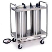 Stainless Steel 2 Stack Heated Regular Open Tubular Frame Plate Dispenser for 10.25 to 12.25 inch Plate Size