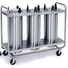 Stainless Steel 3 Stack Heated Regular Open Tubular Frame Plate Dispenser for 6.625 to 7.25 inch Plate Size