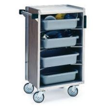 Stainless Steel Walnut Vinyl Finish Enclosed Bussing Cart