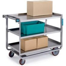 Traditional Series Stainless Steel Tough Transport Traditional Utility Cart with 3 Shelves and 11.375 inch Shelf Clearance