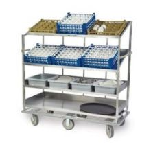 Stainless Steel 2 Flat and 2 Angled 62 inch Shelf Soiled Dish Breakdown Cart
