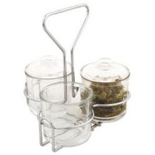 Glass Condiment Jar with Ring Wire Rack Set