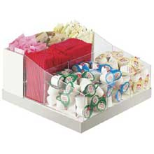 Luxe White Stainless Steel Trim Multi Section Condiment Organizer