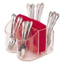 clear silverware caddy and napkin holder 8 x 8 x 5 inch