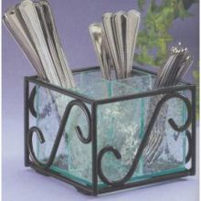 Black Wire Frame Cutlery Holder with Removable Faux Glass Body