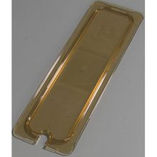 High Heat Plastic Amber Universal Flat Notched Lid Only for TopNotch One Half Long Size Food Pan