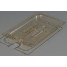 High Heat Plastic Amber Universal Handled Notched Lid Only for TopNotch One Quarter Size Food Pan