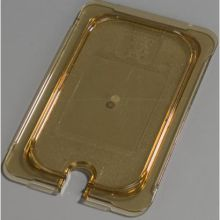 High Heat Plastic Amber Universal Flat Notched Lid Only for TopNotch One Quarter Size Food Pan