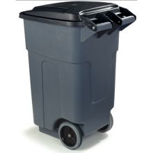 Grey Bronco Polyethylene Rolling Trash Container
