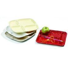 Tan Durable Melamine 4 Compartment Omni-Directional Server Trays 10 1/4 x 9 1/2 inch