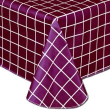 Marko Vinyl Classic Series Scandia Block Pattern Assisted Feeding Table Cover Red Color 56 x 80 inch