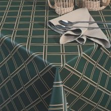 Vinyl Classic Series Crossweave Pattern Assisted Feeding Table Cover Forest Green Color 56 x 80 inch