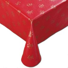 Vinyl Designer Series Asian Characters Pattern Assisted Feeding Table Cover Red Color 56 x 80 inch