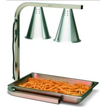 Aluminum Two Bulb Free Standing Adjustable Heat Lamp with Pan and Screen