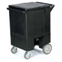 Cateraide 125 Pound Tall Ice Caddy with Nylex Latches 8 inch Wheels 2 Swivel Casters One with Brake