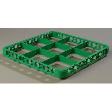 Polypropylene Green 9 Compartment Divided Extender for OptiClean Color Coded Glass Rack
