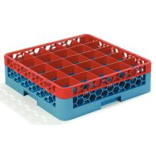 Polypropylene OptiClean 25 Compartment Color Coded Glass Rack with 1 Extender