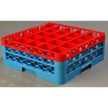 Polypropylene OptiClean 25 Compartment Color Coded Glass Rack with 2 Extender