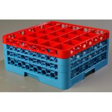 Polypropylene OptiClean 25 Compartment Color Coded Glass Rack with 3 Extender