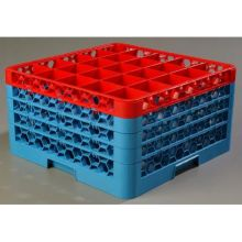Polypropylene OptiClean 25 Compartment Color Coded Glass Rack with 4 Extender