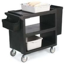 Black Plastic Service Cart - 33 x 20 inch 2 Fixed Casters 2 Swivel Casters 1 with Brake