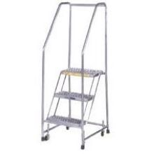 Tough Aluminum 4 Step Ladder with Spring Loaded Caster 30 x 31 inch