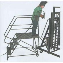 Steel Single Entry 3 Step Mobile Work Platform with Handrail