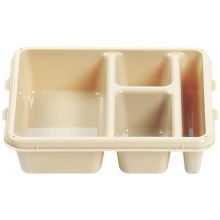 Beige Camwear Polycarbonate 4 Compartment Meal Delivery Tray