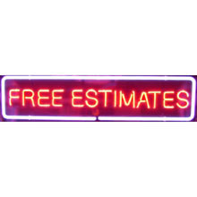 Neon Free Estimates Sign