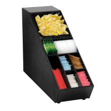 Black Polystyrene Countertop Lid Straw and Condiment Organizer