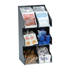 Black Polystyrene Six Section Countertop Vertical Lid or Condiment Organizer